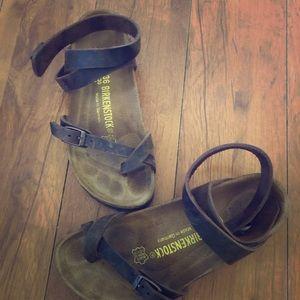 Birkenstock Yara Sandals - brown leather straps